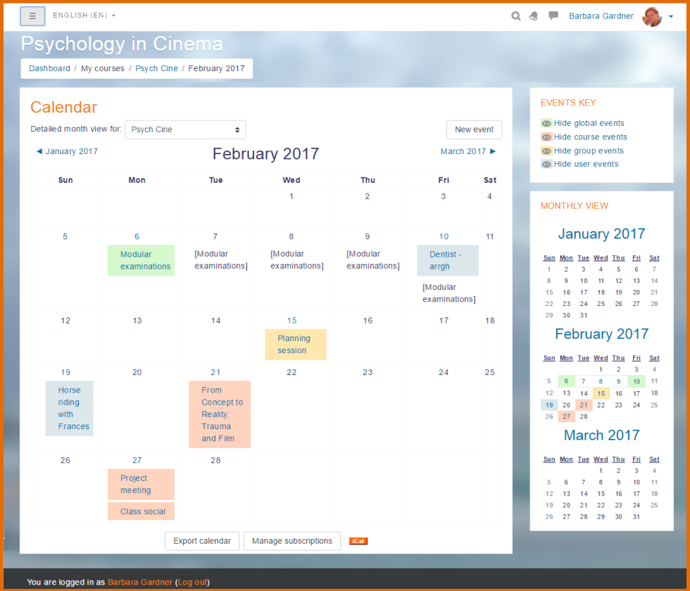 calendar for online courses