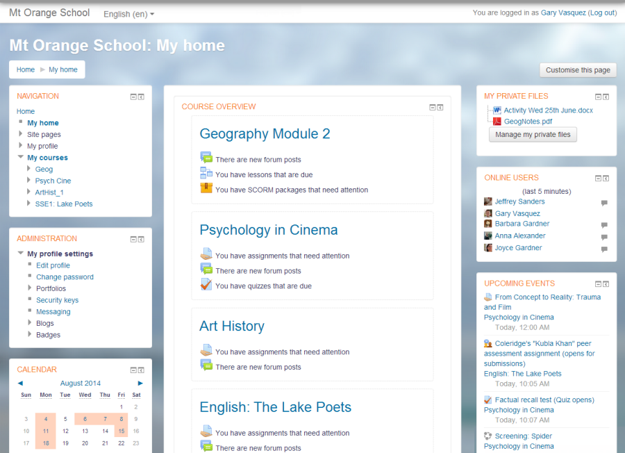 Elearning Moodle courses website