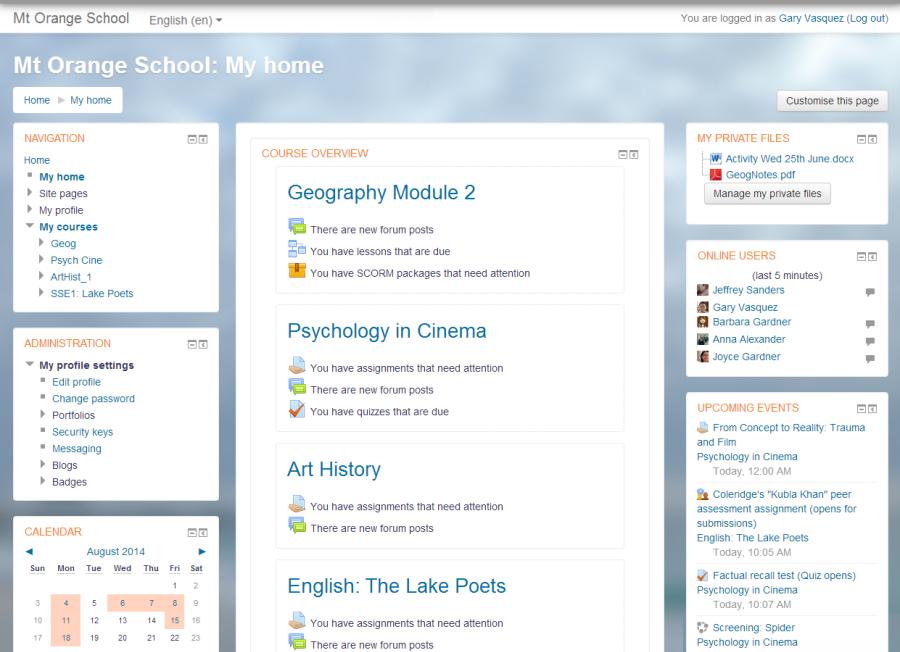 web de cursos elearning Moodle