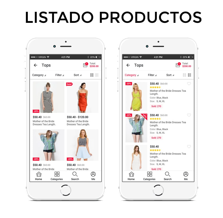 List of products for app