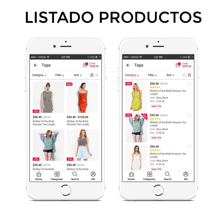 Listado de productos para app