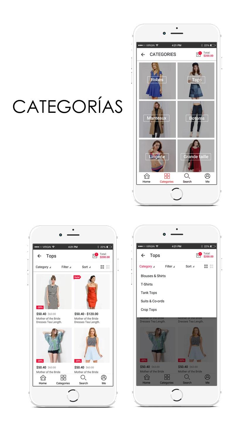 categorías en una aplicación
