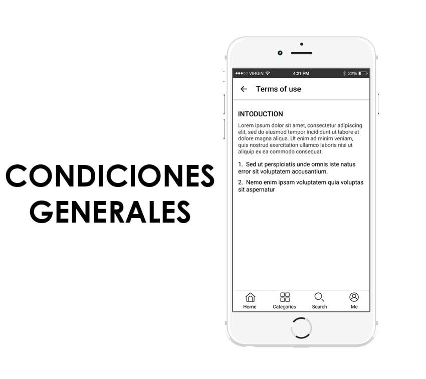 condiciones generales en la app