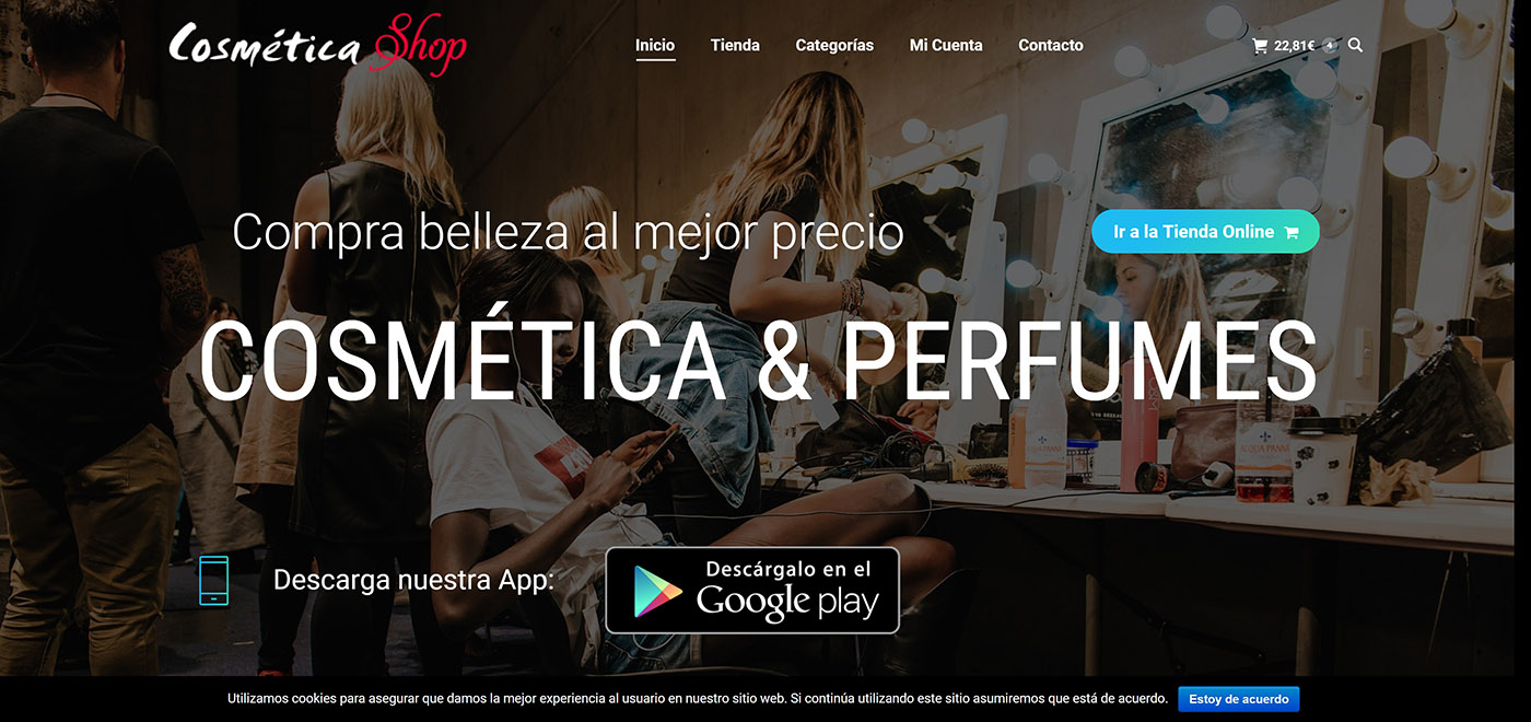 Cosmetic website design and perfumes