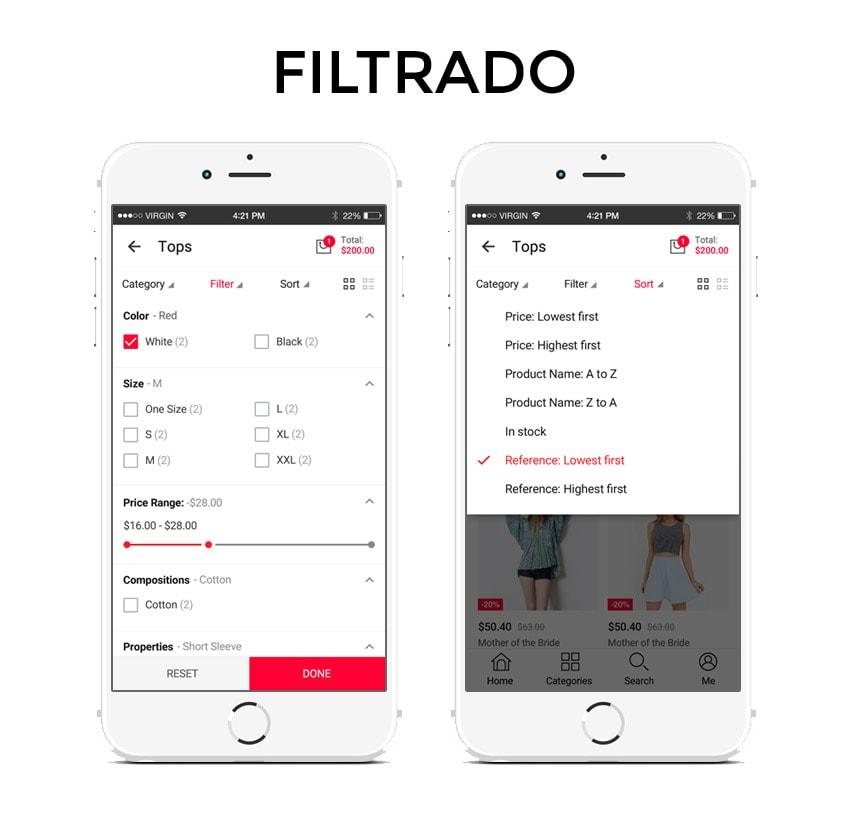 filtrado de productos en una app