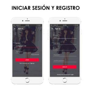 iniciar sesión y registro para aplicación