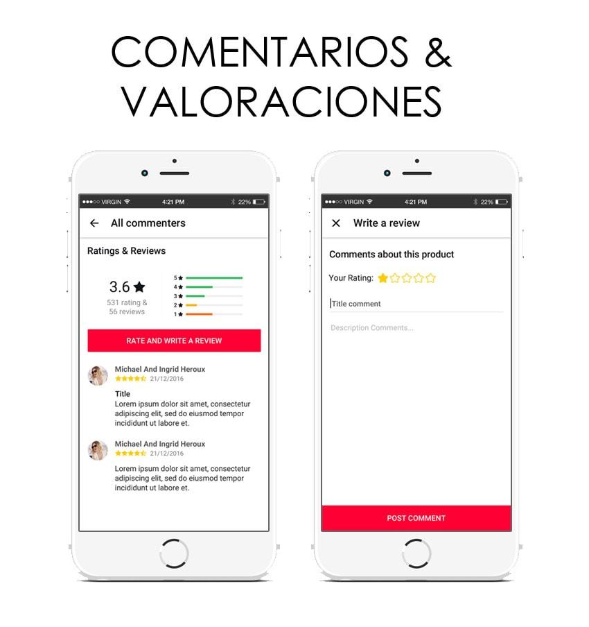 valoraciones y comentarios en app