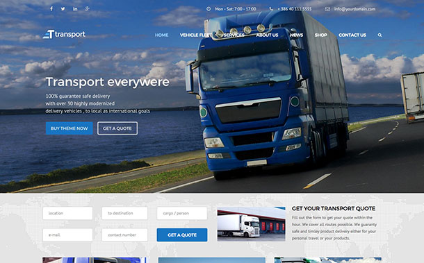 transport theme wordpress