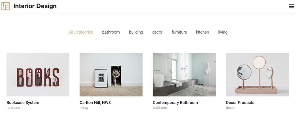 portfolio para web de interiorismo