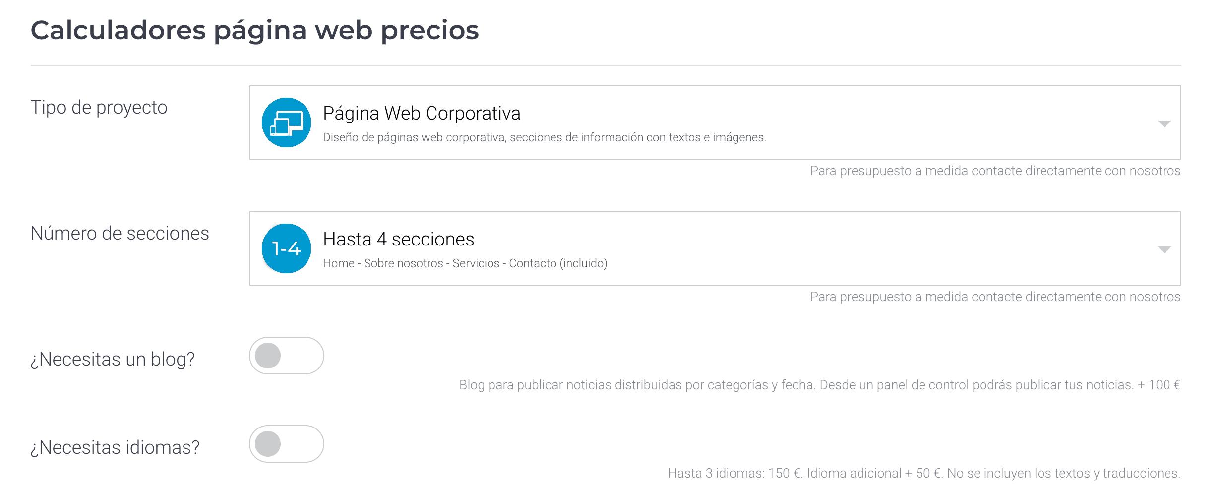 Calculadora precios página web