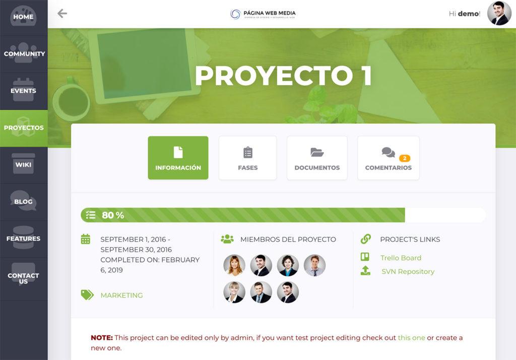 Intranet con gestión de proyectos
