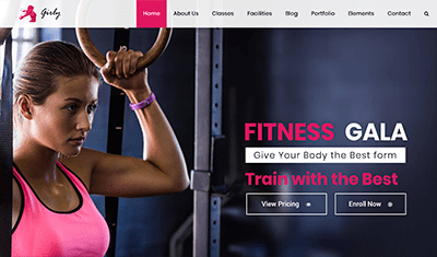 Examples fitness web pages
