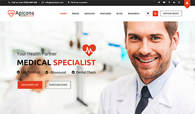 web design health centers