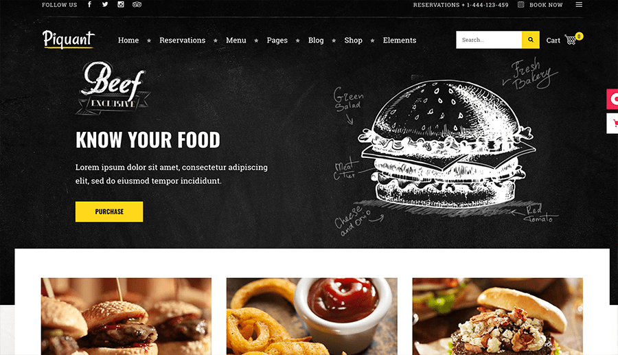web design with food delivery