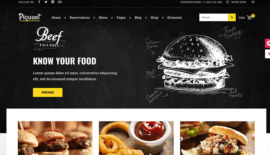diseño web con envío de comida