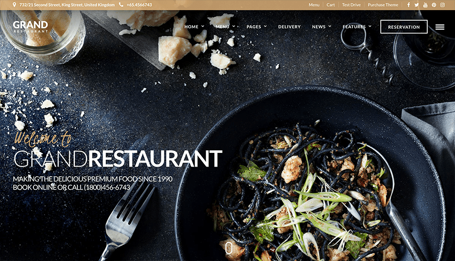 Exemple de site web pour les restaurants