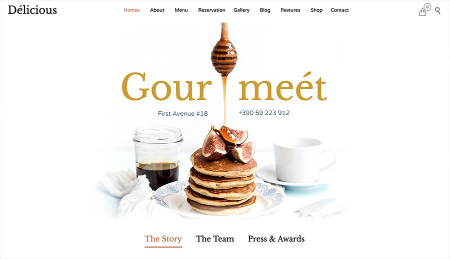 restaurant website with online store