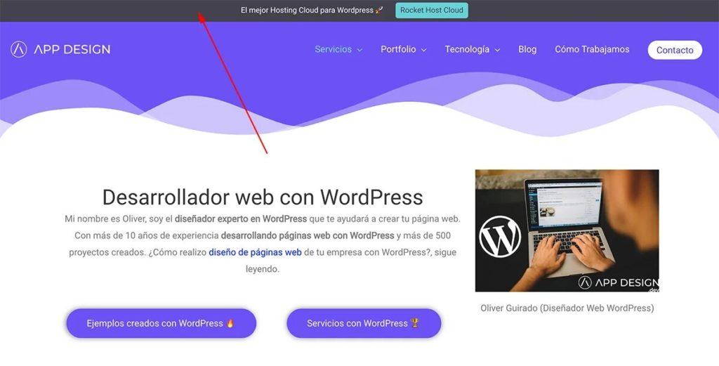 Barre de notification supérieure pour WordPress