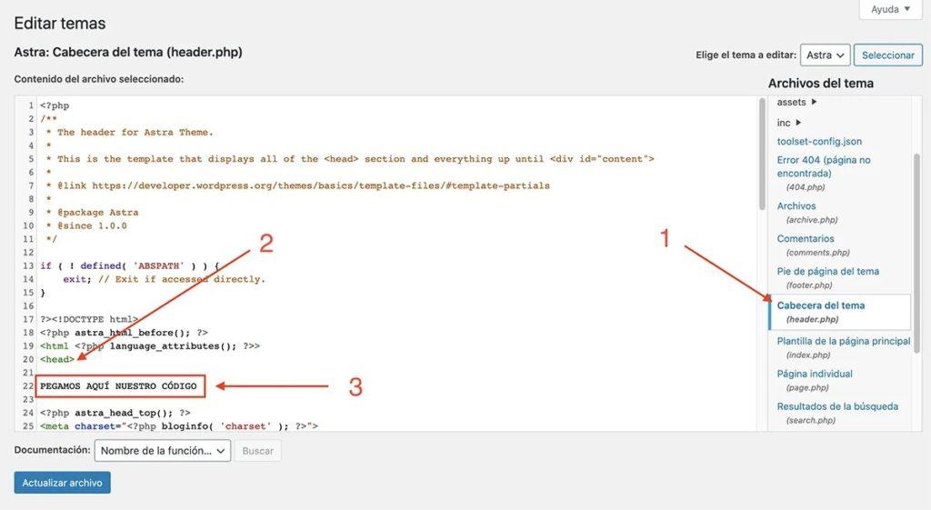 créer wordpress en haut de la page