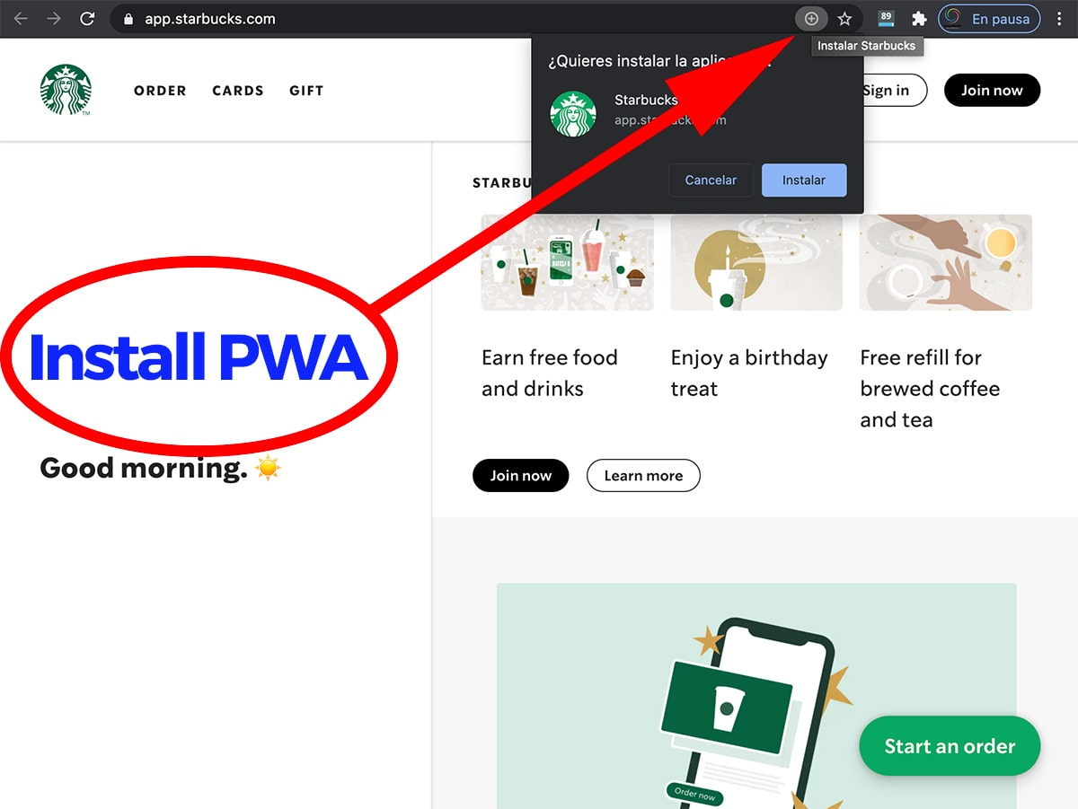 how to install a PWA