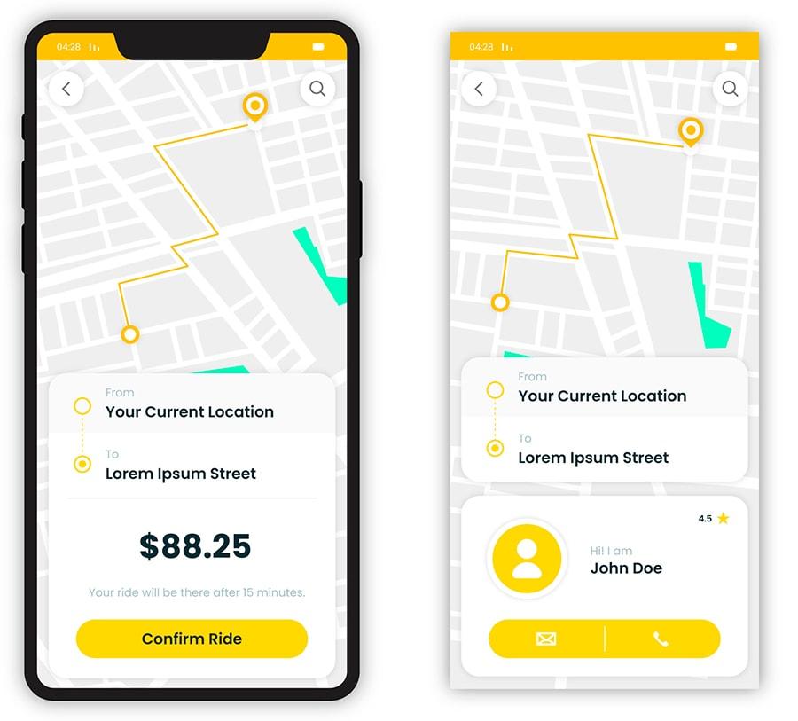 diseño aplicación taxi